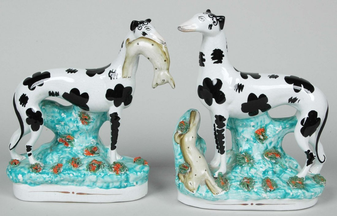 RARE PAIR OF 19TH C. STAFFORDSHIRE WHIPPETS WITH HARES