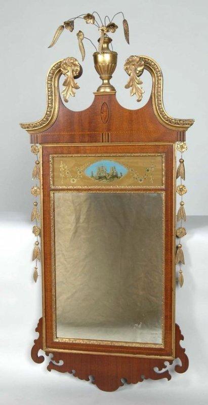 VERY FINE AMERICAN FEDERAL LOOKING GLASS, 19TH C.