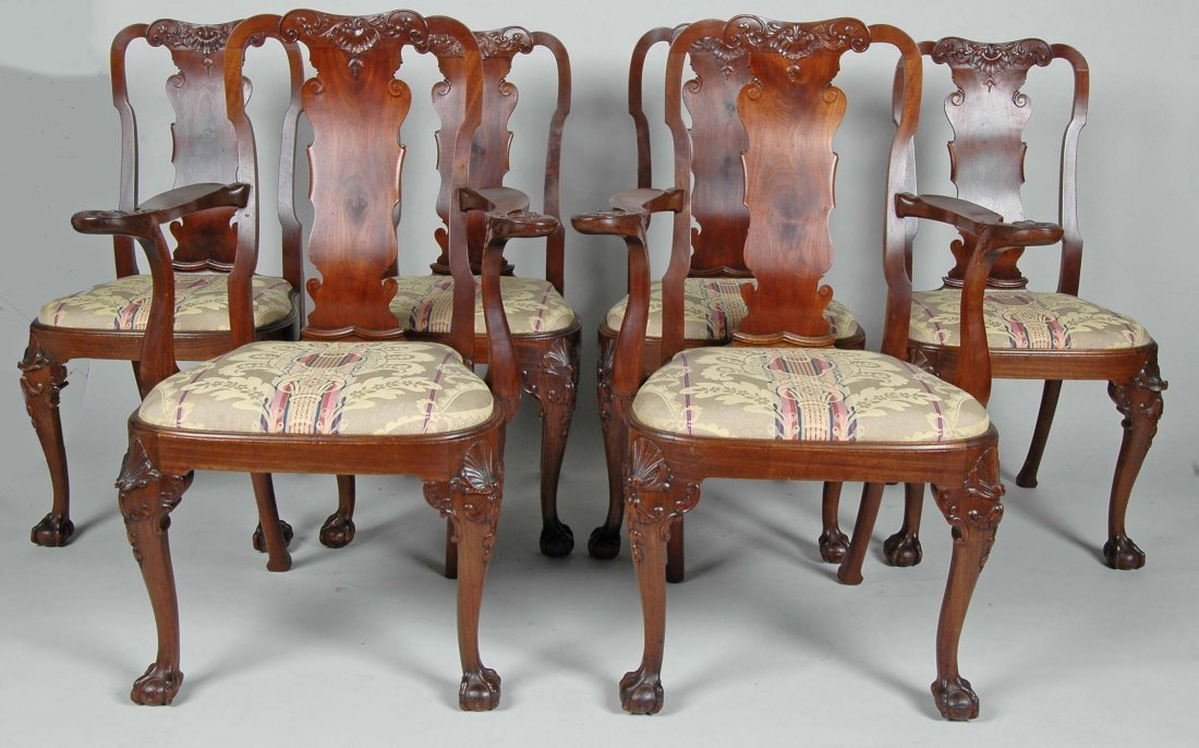 GREAT SET OF 6 ANTIQUE ENGLISH QUEEN ANNE CHAIRS, 19TH