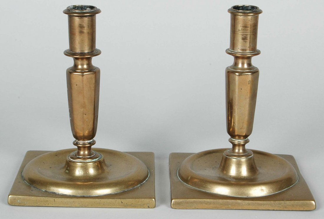 PAIR LATE 17TH C. CONTINENTAL BRASS CANDLESTICKS