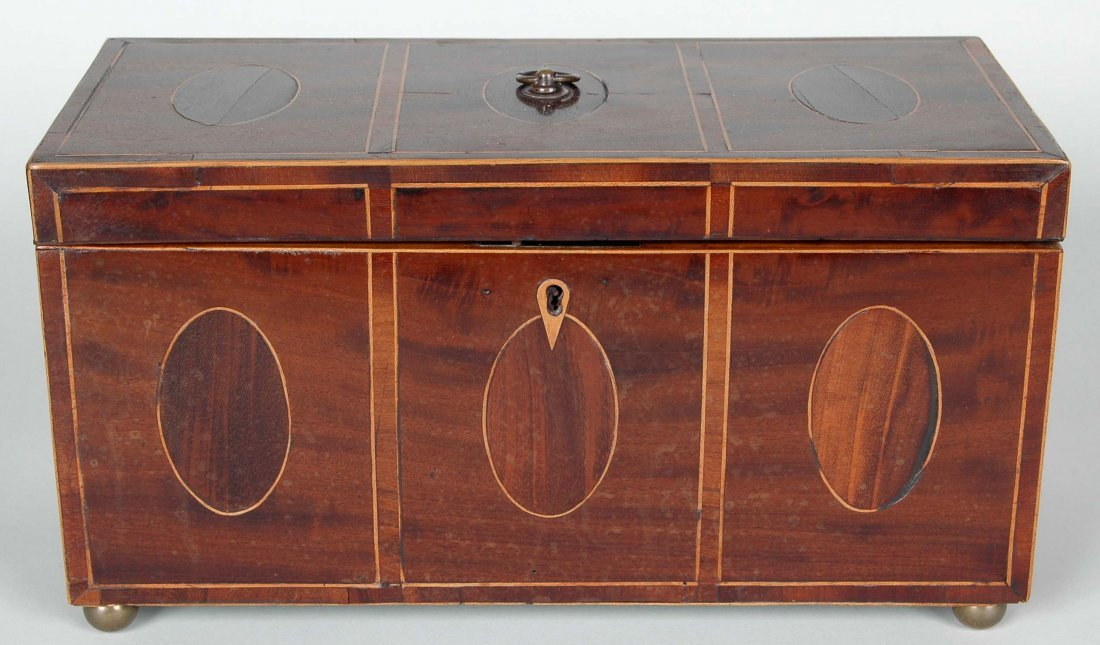 IMPORTANT ENGLISH HEPPLEWHITE  INLAID TEA CADDY