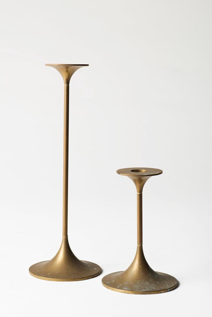 Max Bruel - Two candle holders. Brass, Produced by