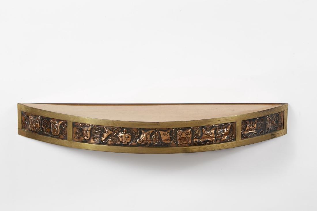 Angelo Bragalini (attributed) - Shelf. Wood, copper.