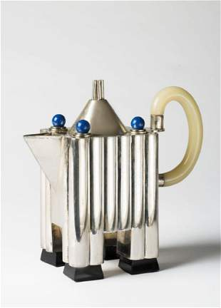 """Michael Graves - A silver coffee pot from the """"Tea and"""