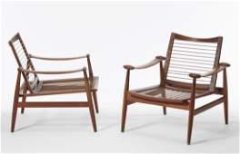 "Finn Juhl - A pair of armchairs model ""133"". Teak."