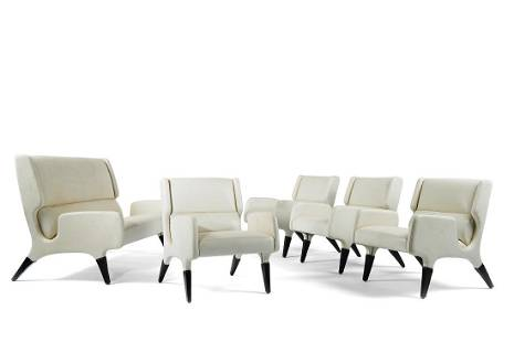Gio Ponti - Lot comprising a sofa and four armchairs