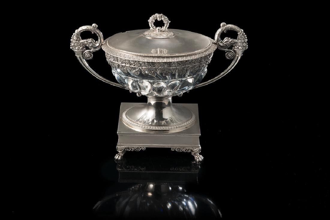 A silver and crystal bowl. Silversmith Maison Odiot,