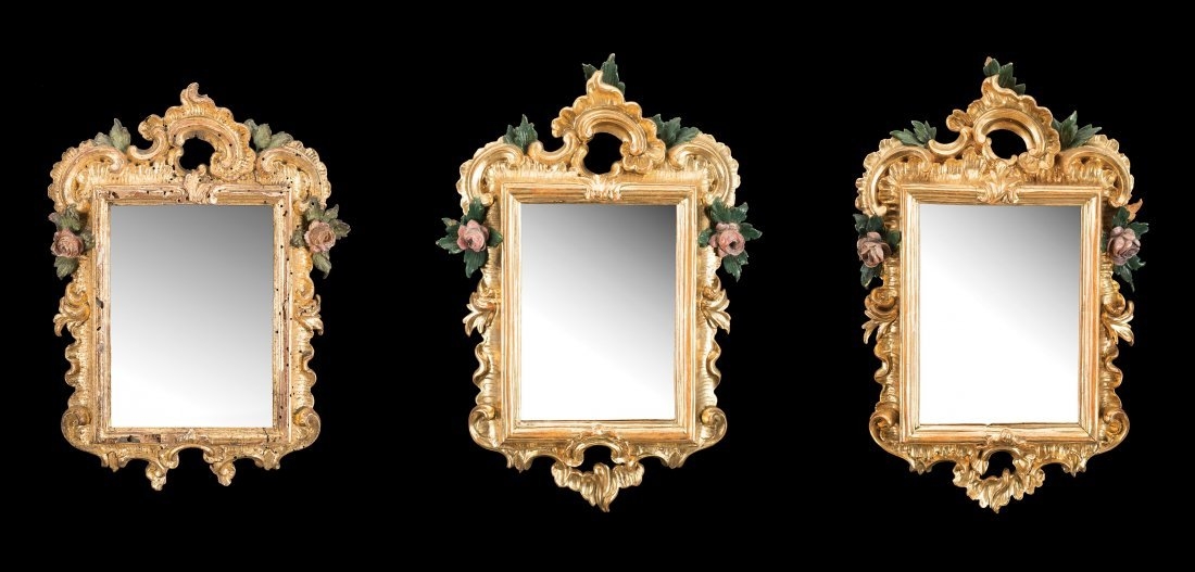 Three small giltwood mirrors of different periods  (cm