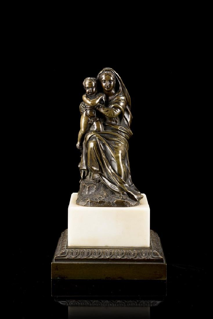 "19th-century art ""Madonna and Child"" bronze sculpture"