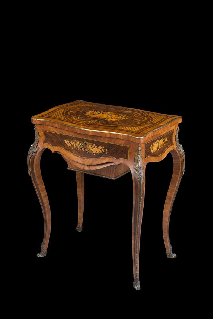 A gilt metal mounte needle table by Vedder, Paris 19th