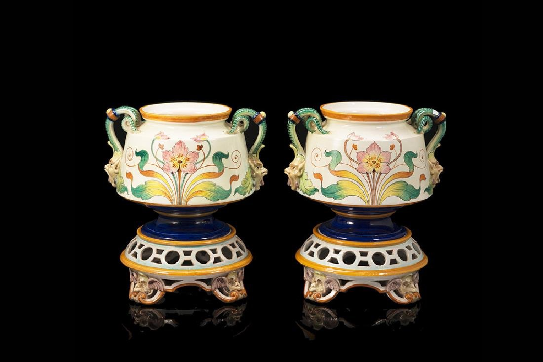Ginori manufacture, early 20th century. A pair of