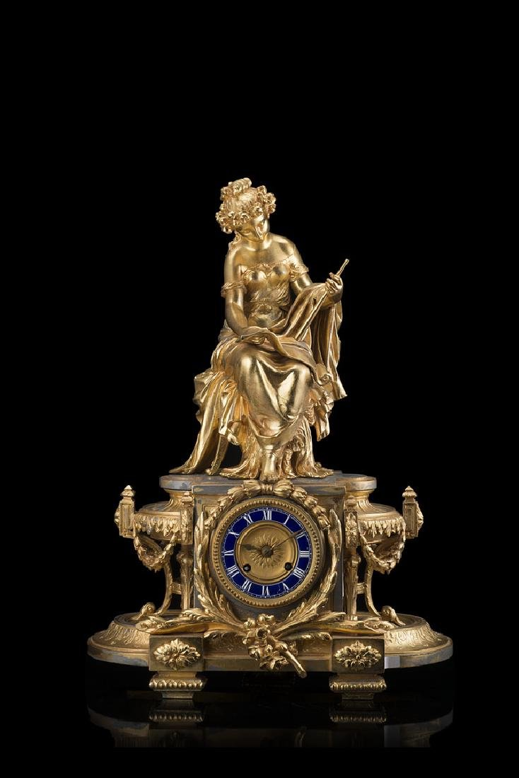 Unknown, Paris A gilt bronze clock.  Early 20th century