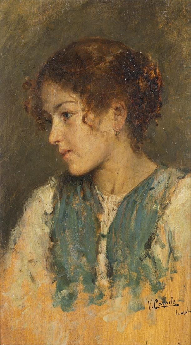 "Vincenzo Caprile (Naples 1856 - 1936) ""Young lady"" oil"