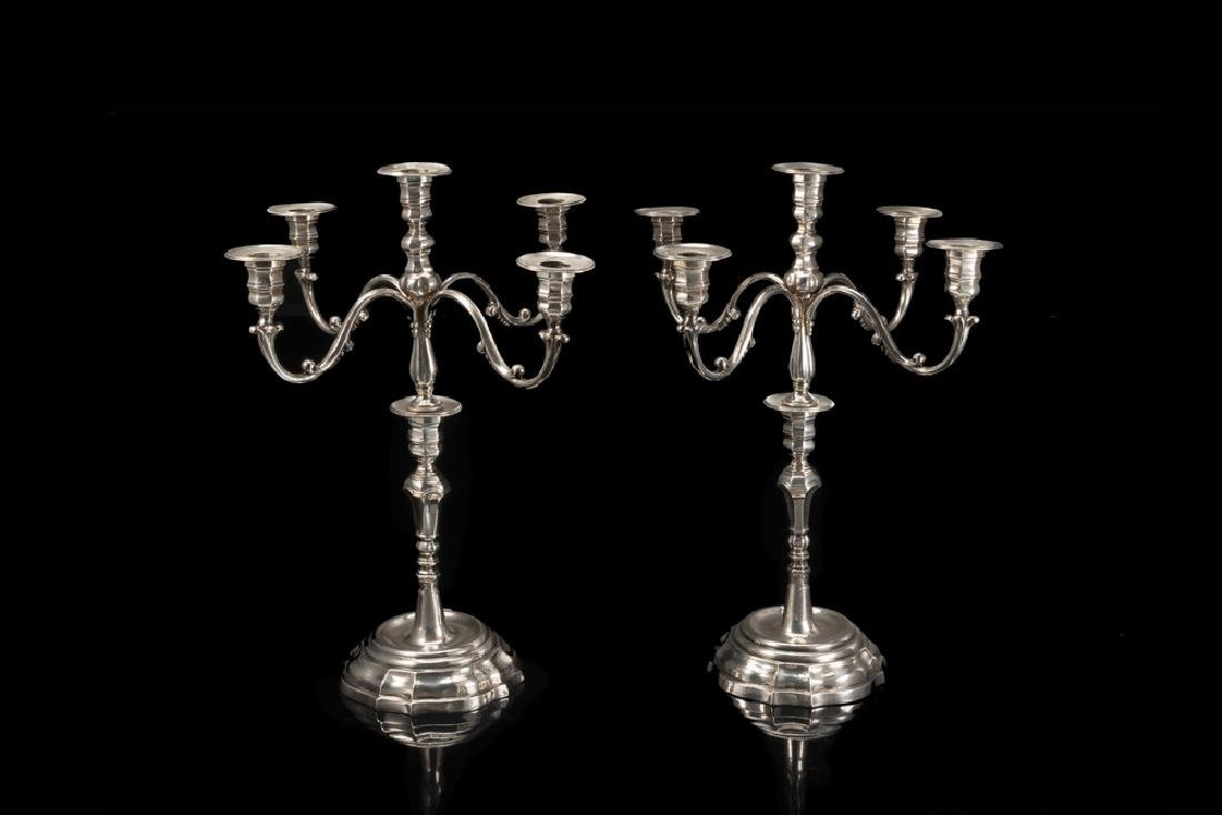 A pair of silver candelabra. Italy 20th century (h.cm