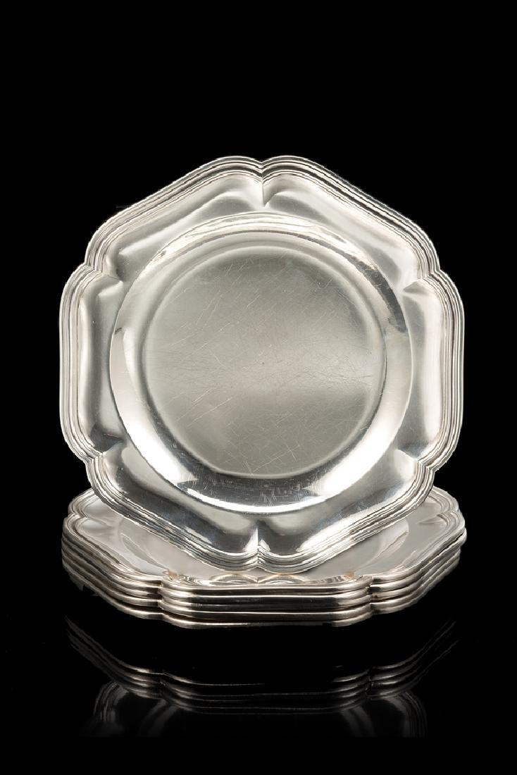 A group of six silver dishes. France, late 19th