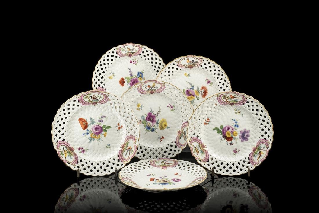 Meissen manufacture. Group of six porcelain dishes