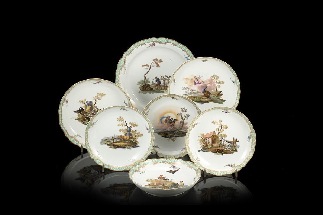 Lot comprising seven porcelain dishes. Meissen
