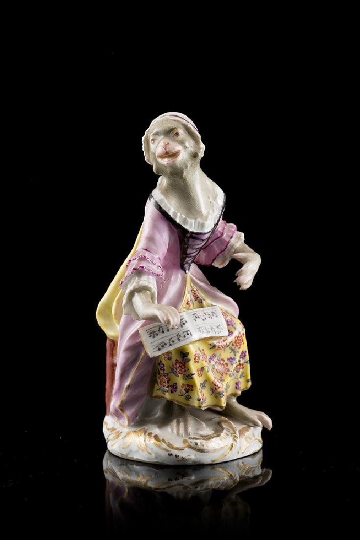 A polychrome decorated porcelain statuette. Meissen,