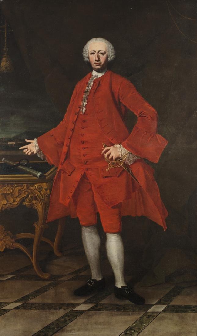 "18th-century Venetian master  ""A Soldier's Portrait""oil"