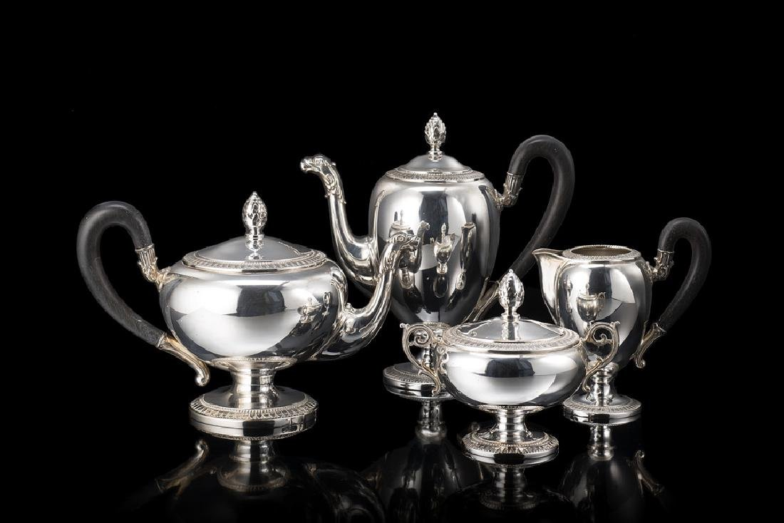 A silver tea and coffee set. Alessandria, mid 20th
