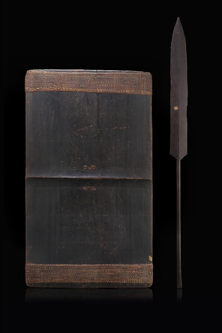 Oceanic art, 19th century. Wood lance and shield