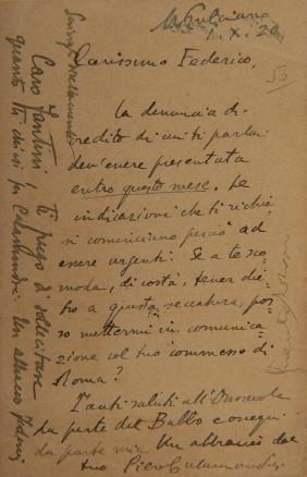 CALAMANDREI, Piero (1889-1956). Cartolina autografa