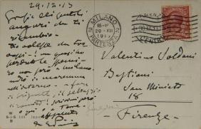 PUCCINI, Giacomo (1858-1924). Cartolina autografa del
