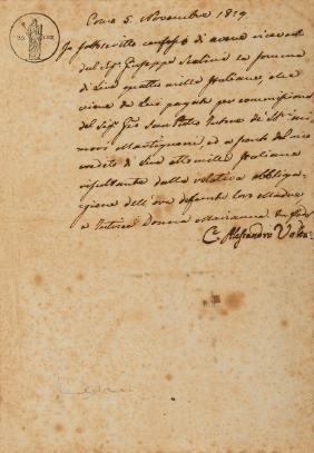 VOLTA, Alessandro (1745-1827). Lettera autografa con