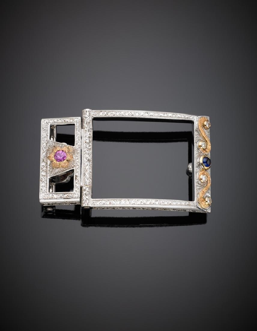 CAZZANIGA  Fibbia rettangolare in oro bianco e rosa
