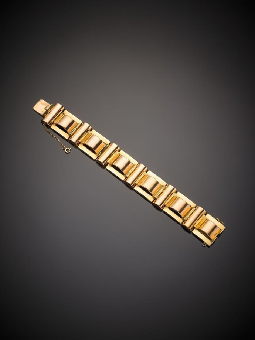 Bracciale modulare in oro giallo e rosa, g.81,10 lungh.