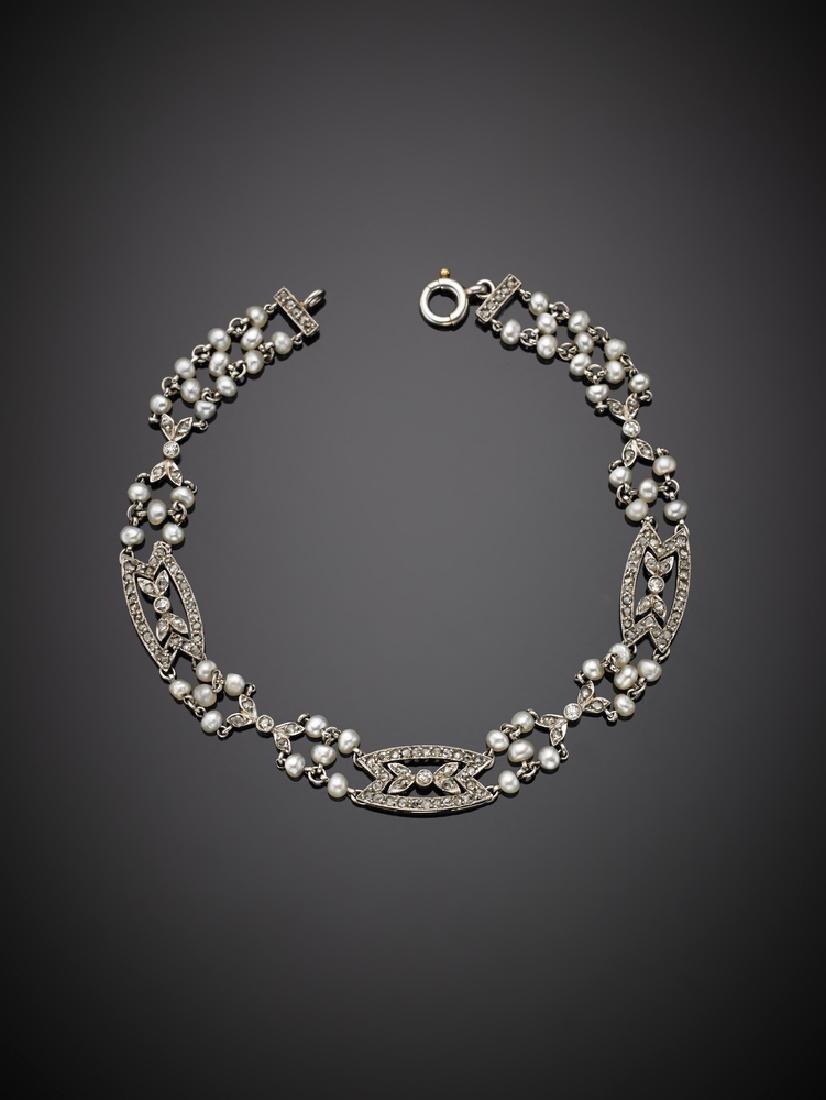 Bracciale modulare in platino  con perline e diamanti,
