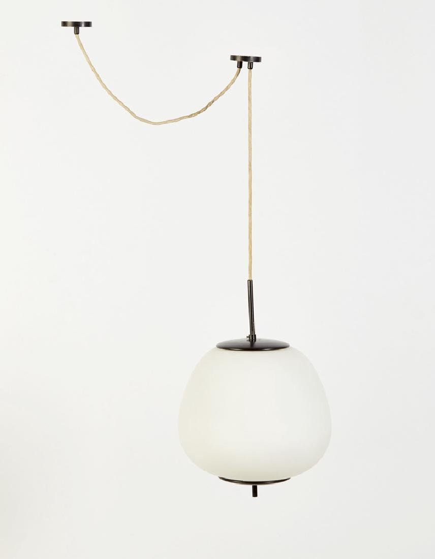 Arredoluce (attribuito)  black lacquered brass lamp