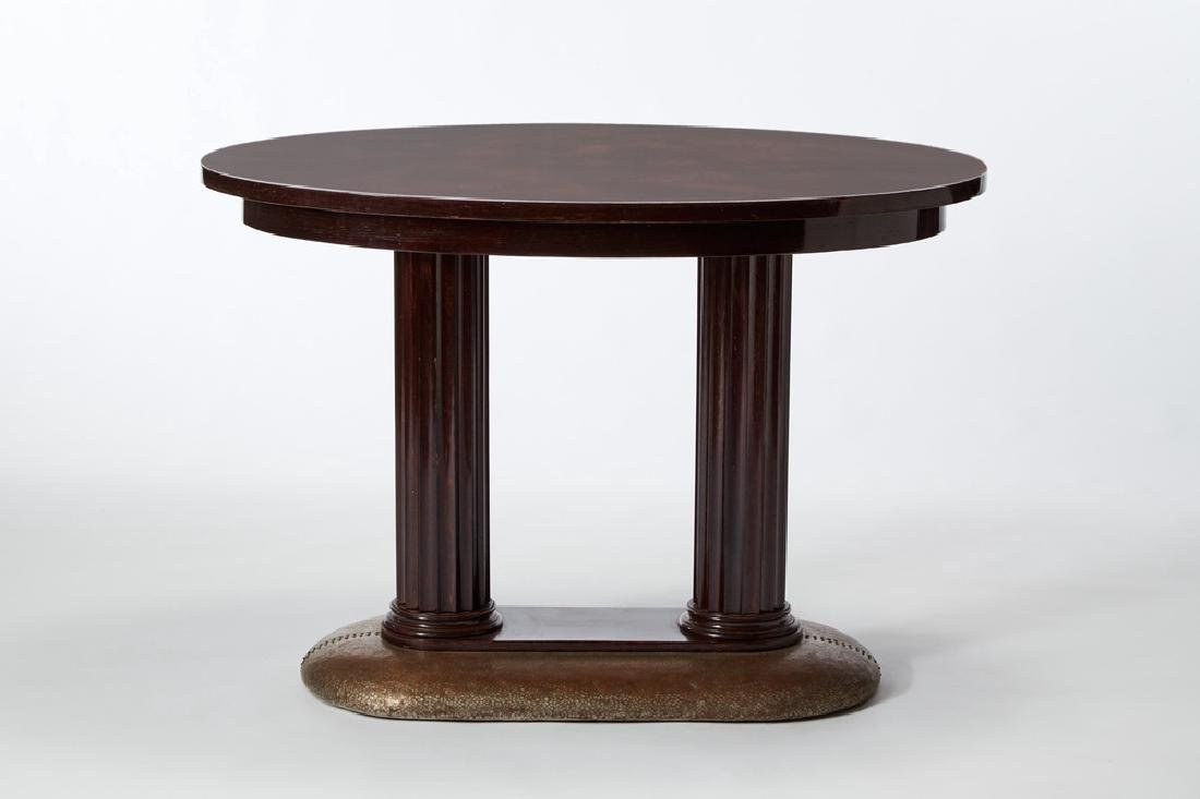 Oval foyer table in veneered wood, with doric column