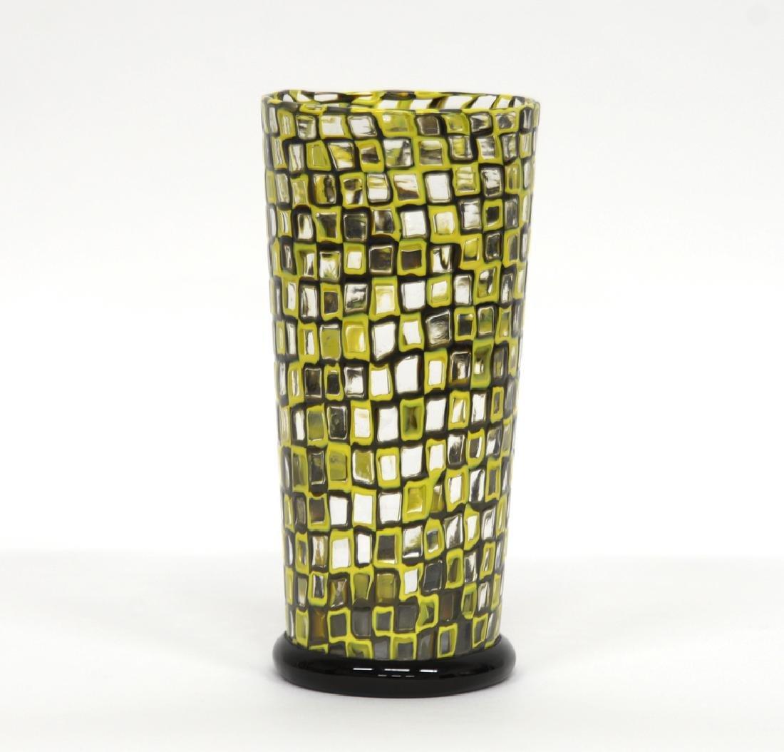 Manifattura di Murano. Vaso troncoconico a murrine