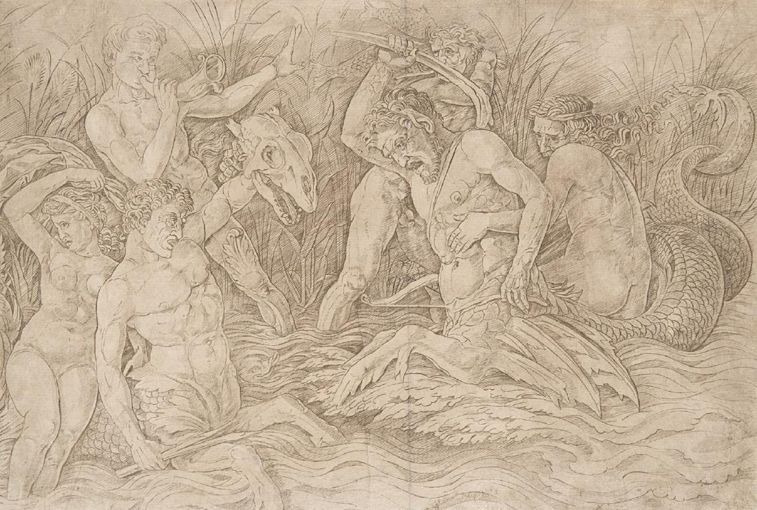 "Copia da Mantegna ""Zuffa di divinità marine"" incisione"