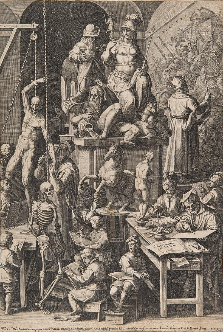 """Cornelis Cort (Hoorn 1533 - Roma 1578)""""L'accademia di"""