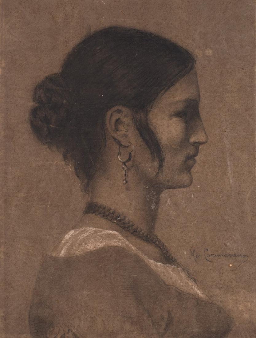 """Michele Cammarano (Napoli 1835 - 1920)""""Profilo"""