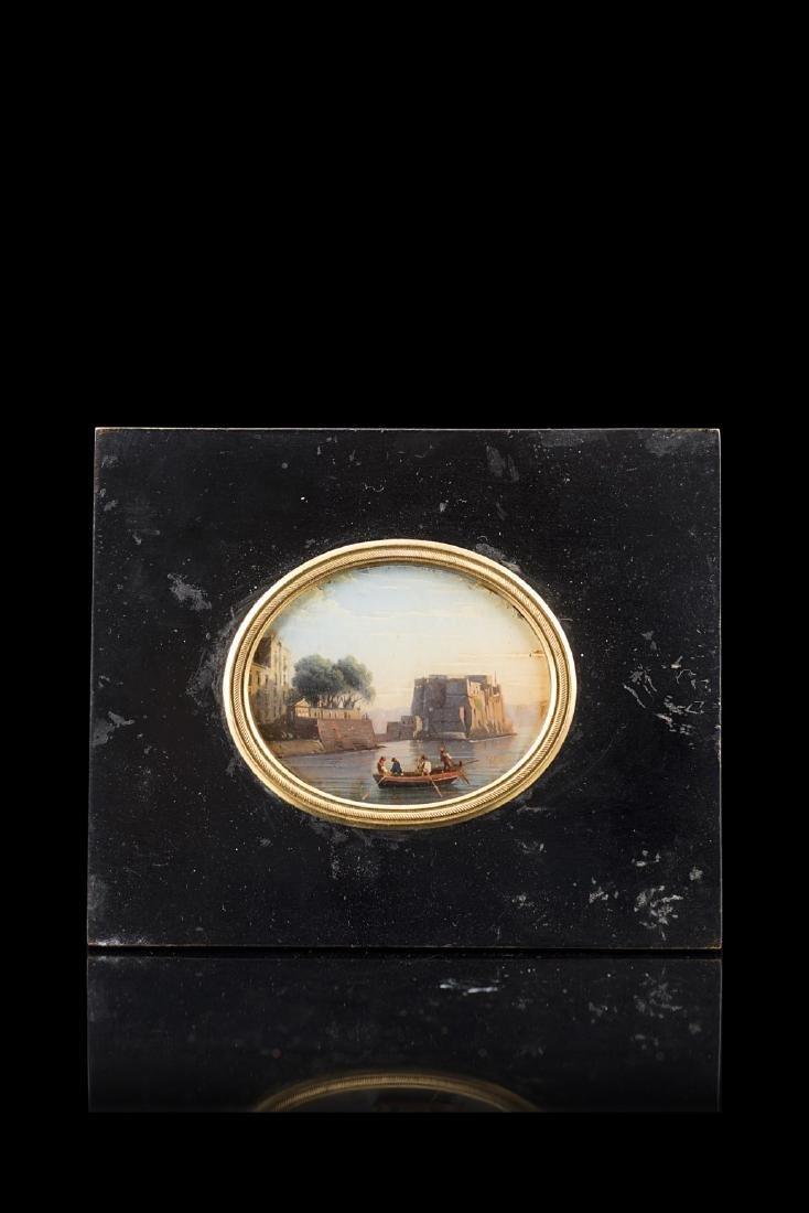 """Scuola napoletana secolo XIX """"Veduta di Castel"""