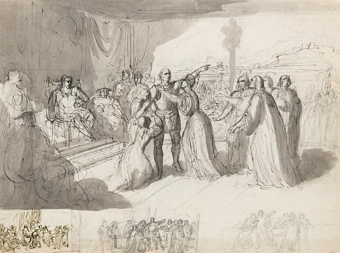 "Giuseppe Bezzuoli (Firenze 1784 - 1855)""Scena storica"