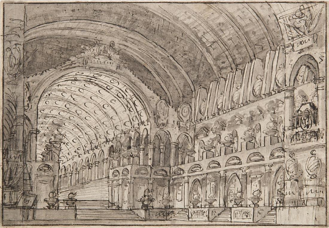 """Scuola italiana, fine secolo XVIII """"Interno di tempio"""""""