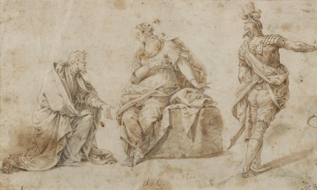 Scuola italiana, fine secolo XVII. Disegno raffigurante