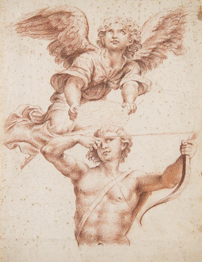 """Scuola italiana, secolo XVIII """"Arciere ed angelo"""""""
