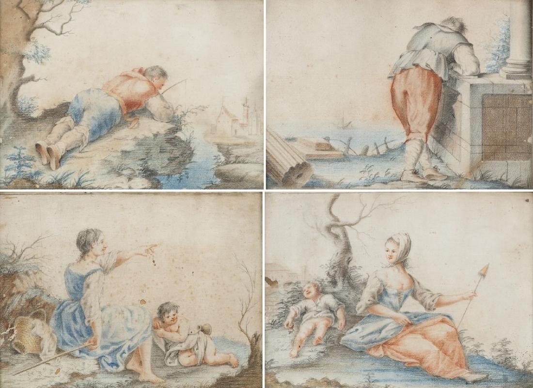 Artista del secolo XVIII. Gruppo di quattro disegni