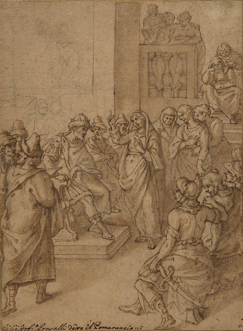 """Scuola del secolo XVII """"La predica"""" tecnica mista su"""