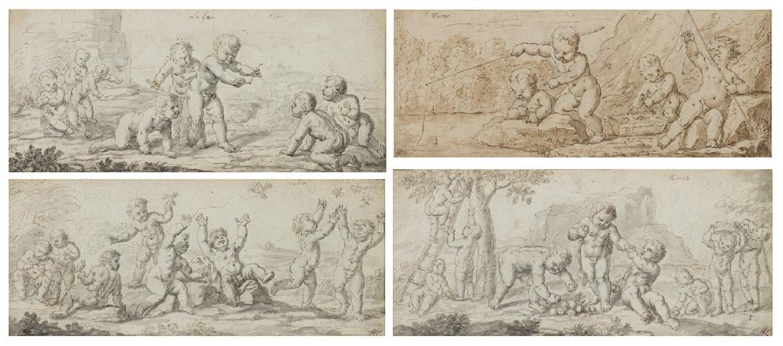 """Scuola del secolo XVIII """"I quattro elementi"""" serie di"""