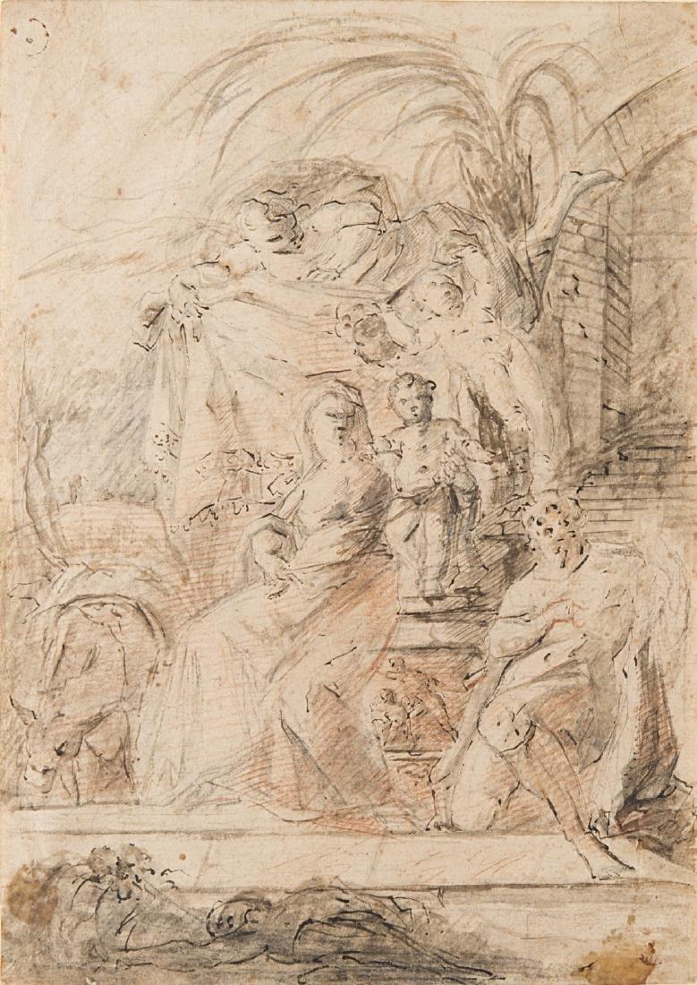 """Artista del secolo XVIII """"Riposo in Egitto"""" penna"""