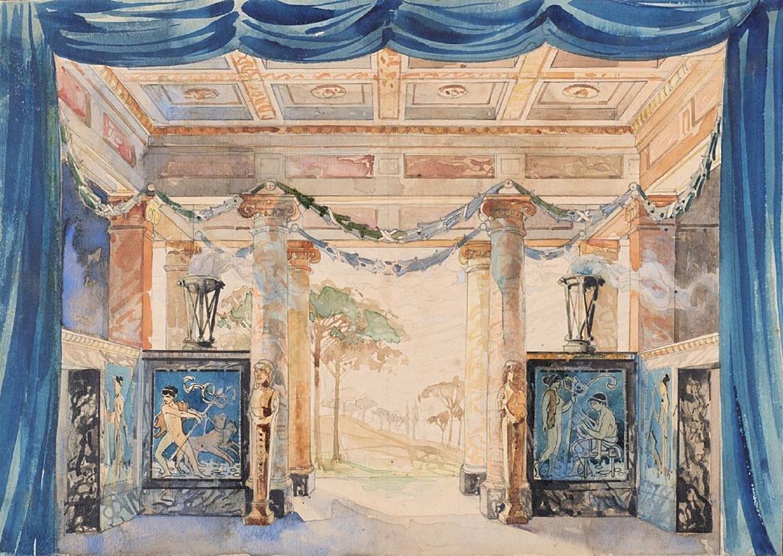 """Scenografo del secolo XIX """"Interno di villa romana con"""