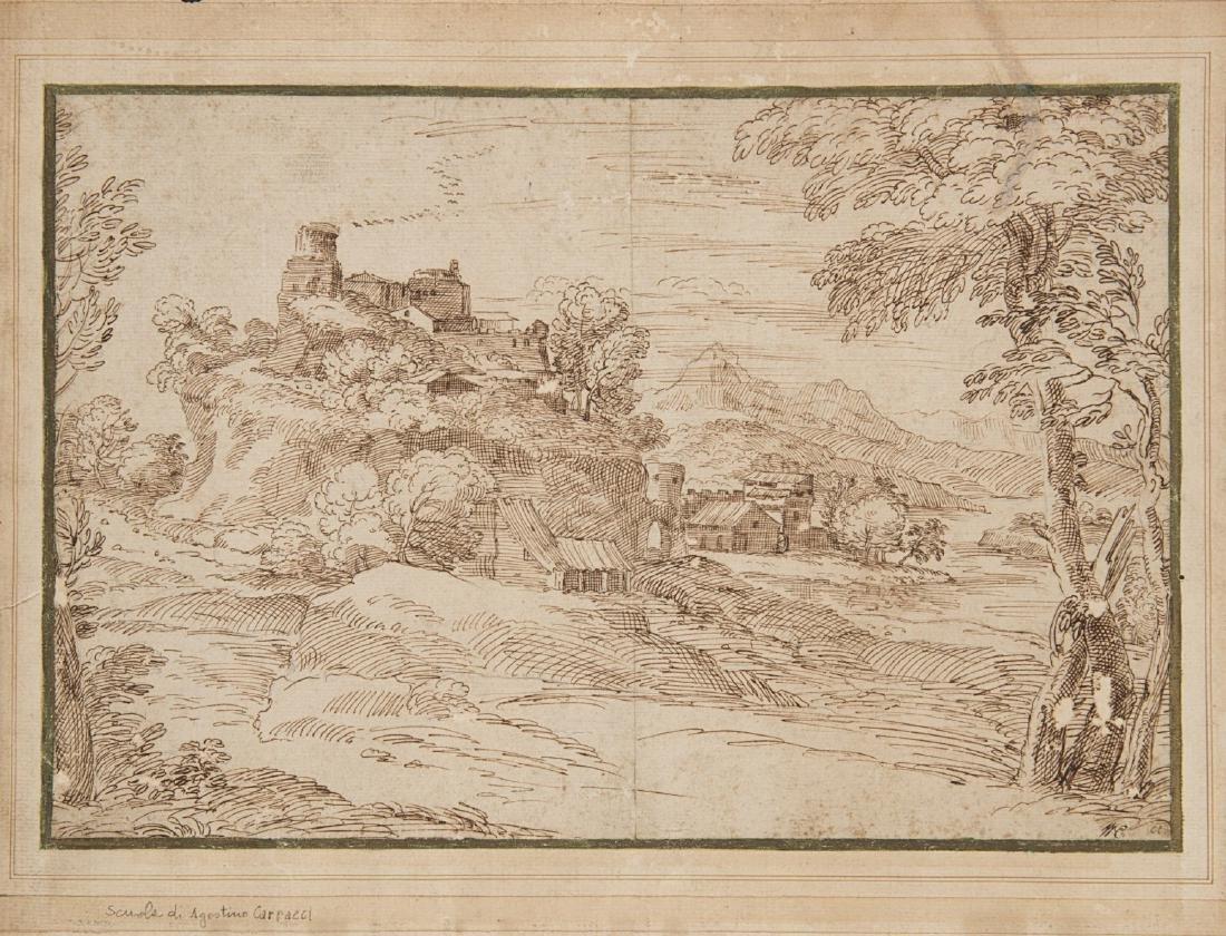 """Scuola Bolognese, secolo XVII """"Paesaggio fluviale"""""""