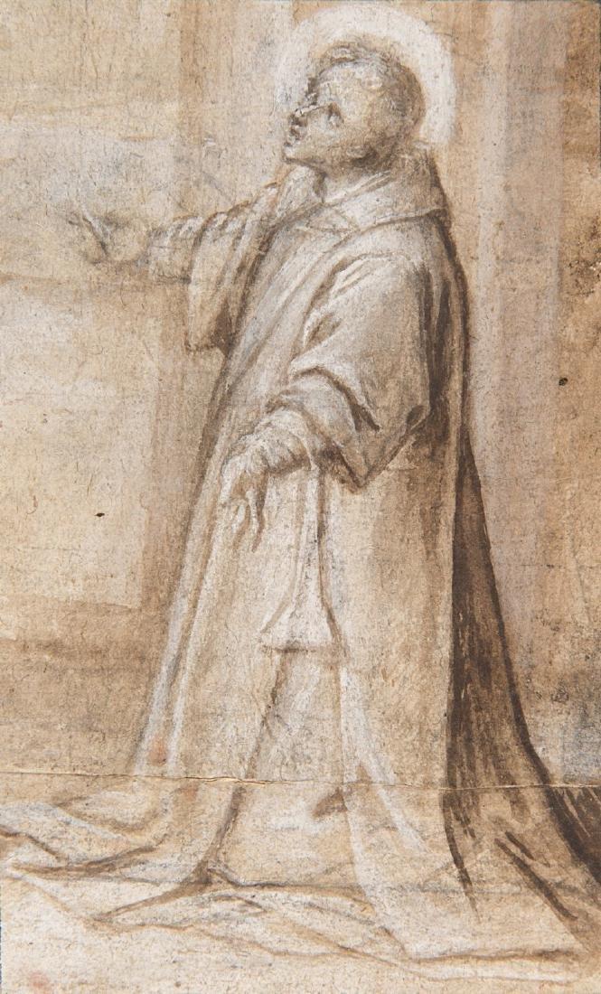 """Scuola lombarda del secolo XVII """"Santo"""" penna,"""