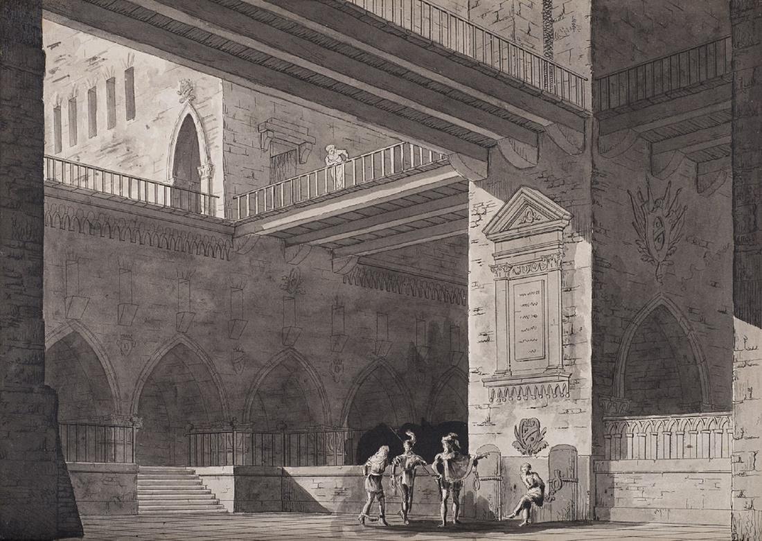 """Scenografo dell'inizio del secolo XIX """"Figure in un"""
